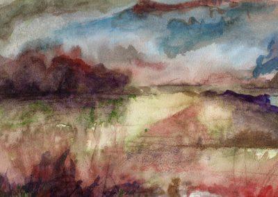 Akvarellandskab med rødlilla buske i venstre baggrund