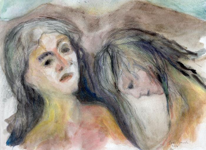 Akvarel, to kvinder der er hinandens spejl