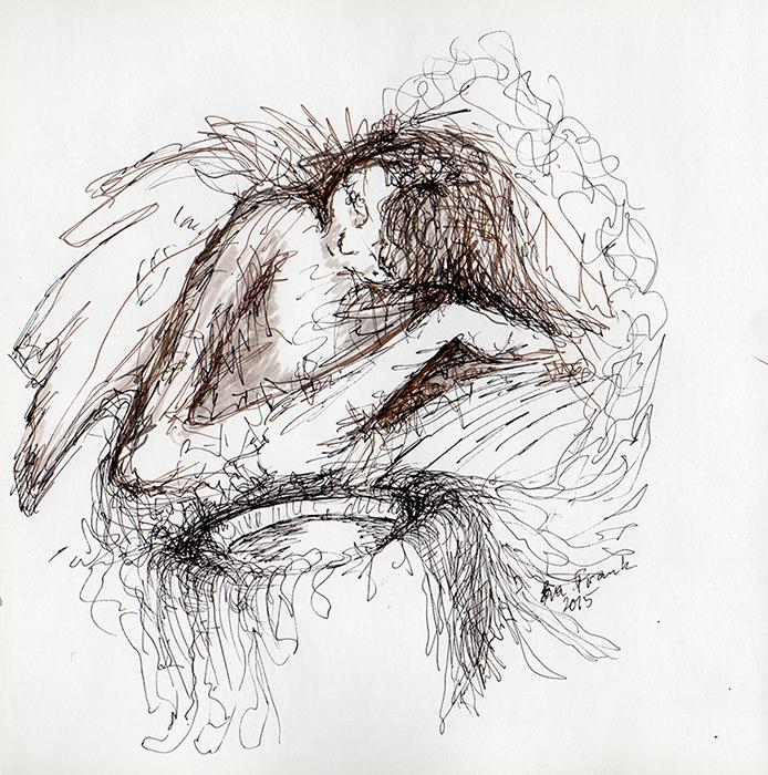 engel der sidder og sover