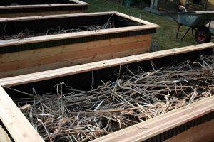 Foto af bed der fyldes med trækævler og staudetoppe