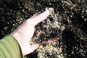 foto af hånd der blander jord.